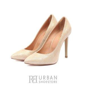 Pantofi stiletto dama din piele naturala - 139 Auriu Velur