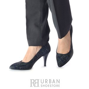 Pantofi stiletto dama din piele naturala - 558 Negru Dungi