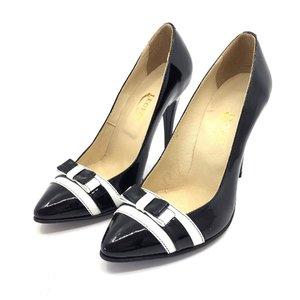 Pantofi stiletto dama din piele naturala  - 708 negru cu alb lac