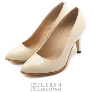 Pantofi stiletto dama din piele naturala lacuita Leofex- 558 bej