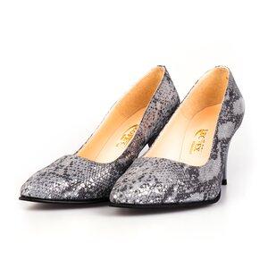 Pantofi stiletto dama din piele naturala, Leofex - 558 Gri velur croco
