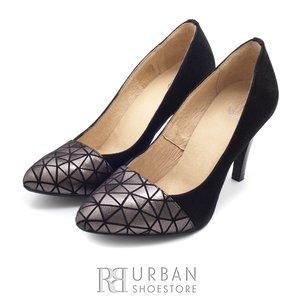 Pantofi stiletto din piele intoarsa 0828-2B negru