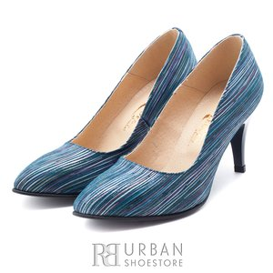 Pantofi stiletto din piele intoarsa - 558 M4 albastru
