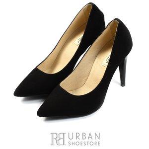 Pantofi stiletto din piele intoarsa - 597 negru