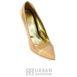 Pantofi stiletto din piele lacuita - 693 nude-sarpe
