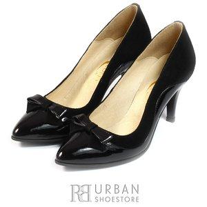 Pantofi stiletto din piele lacuita si velur - 712 negru