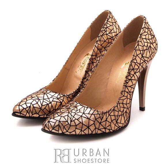 Pantofi stiletto din piele naturala - 707 Auriu Sidefat