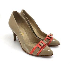Pantofi stiletto din piele naturala - 713 Capucino Corai