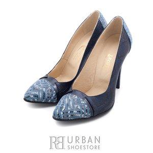 Pantofi stiletto din piele naturala - 766M22 blue