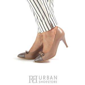 Pantofi stiletto din piele naturala Leofex -851 Cappucino Box