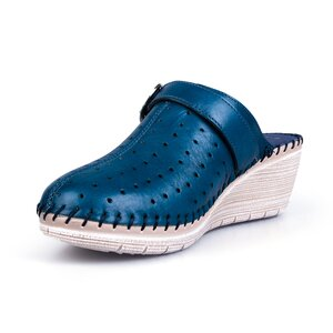 Saboti medicali cu platforma din piele naturala, dama Leofex - 245 blue box