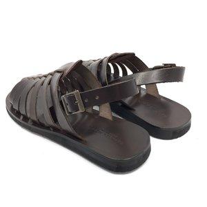 Sandale barbati din piele naturala cu barete- 028 Maro Inchis