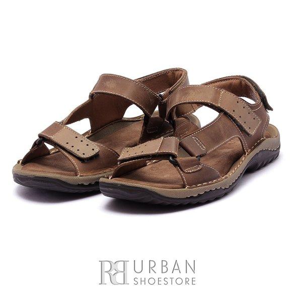 Sandale barbati din piele naturala, Leofex- 902 Maro Box