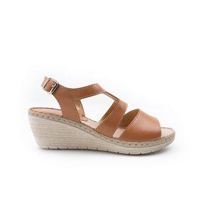 Sandale cu platforma dama din piele natural,Leofex-232 Cognac Box
