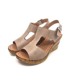 Sandale cu platforma dama din piele naturala- 165-1 Taupe Box