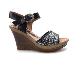 Sandale cu platforma dama din piele naturala, Leofex - 038-3 Negru mozaic box