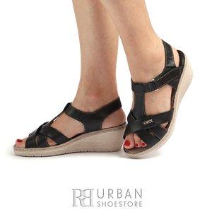 Sandale cu platforma dama din piele naturala Leofex- 214  Negru Box