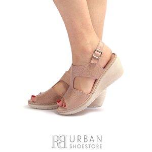 Sandale cu platforma dama din piele naturala Leofex- 218 Taupe Box