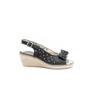 Sandale cu platforma dama, perforate din piele naturala, Leofex - 259 Negru box