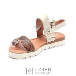 Sandale cu talpa joasa dama din piele naturala Leofex - 043-1 Bej Sarpe Box