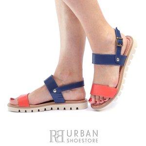 Sandale cu talpa joasa dama din piele naturala Leofex- 043 -1 Portocaliu Blue