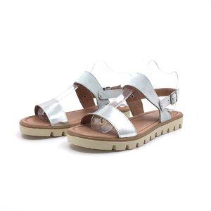 Sandale cu talpa joasa dama din piele naturala, Leofex - 043 alb cu argintiu