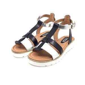 Sandale cu talpa joasa dama din piele naturala, Leofex - 151 negru-argintiu