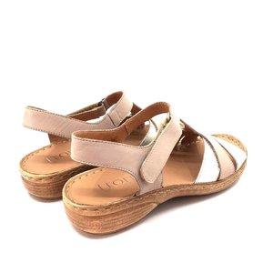 Sandale cu talpa joasa dama din piele naturala, Leofex - 152 Bej Argintiu
