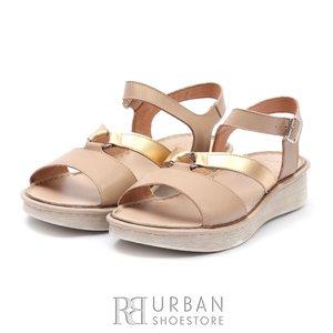 Sandale cu talpa joasa dama din piele naturala Leofex- 159  Taupe Auriu