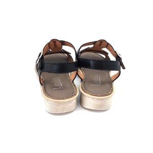 Sandale cu talpa joasa dama din piele naturala, Leofex - 161-1 Negru Box