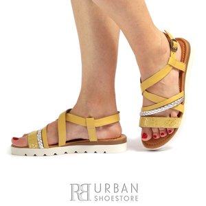 Sandale cu talpa joasa dama din piele naturala Leofex- 205 Galben