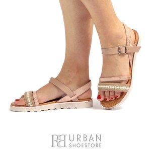 Sandale cu talpa joasa dama din piele naturala Leofex- 208 Taupe
