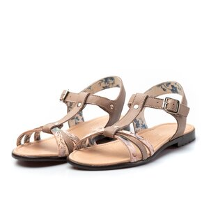 Sandale cu talpa joasa dama din piele naturala,Leofex-209Taupe Box