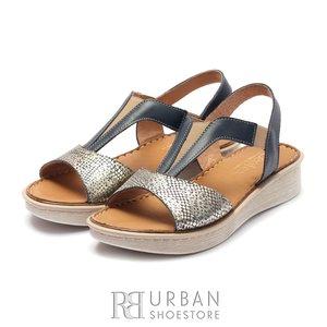 Sandale cu talpa joasa dama din piele naturala Leofex- 215  Blue Auriu