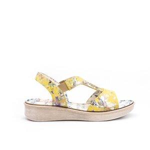 Sandale cu talpa joasa dama din piele naturala,Leofex - 215 Galben Box Floral