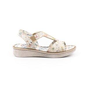 Sandale cu talpa joasa din piele naturala,Leofex-215 Bej Flori Box