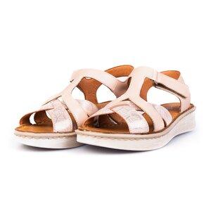 Sandale cu talpa joasa din piele naturala Leofex- 216 Nude