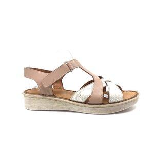 Sandale cu talpa joasa din piele naturala Leofex- 216 Plamaniu Auriu