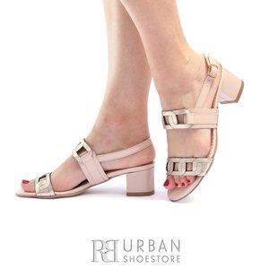 Sandale cu toc dama din piele naturala - 685-7 Nude Auriu