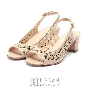 Sandale cu toc dama din piele naturala  - 0465-2 Bej Box