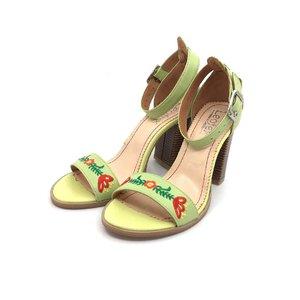 Sandale cu toc dama din piele naturala brodate, Leofex- 130 Verde