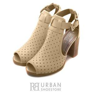 Sandale cu toc dama din piele naturala, Leofex - 010 bej