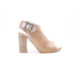 Sandale cu toc dama din piele naturala,Leofex- 033 Taupe 2 Box