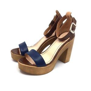 Sandale cu toc dama din piele naturala, Leofex - 039 maro-blue