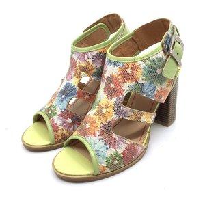 Sandale cu toc dama din piele naturala, Leofex- 111 FLORI 5 BOX