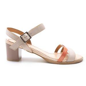 Sandale cu toc dama din piele naturala, Leofex - 127-1 taupe + coral box