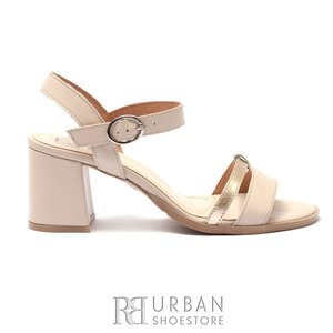 Sandale cu toc dama din piele naturala, Leofex - 127-2 Bej - Auriu Box