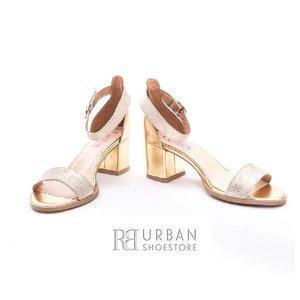 Sandale cu toc dama din piele naturala, Leofex- 128 Auriu Box