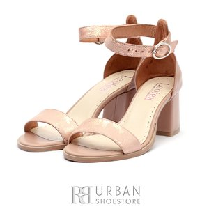 Sandale cu toc dama din piele naturala Leofex- 128 Nude Box