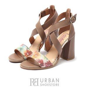 Sandale cu toc dama din piele naturala, Leofex- 139 Taupe Flori Box